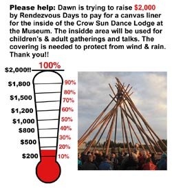 Please help, donations sought for  tipi rain/sun shelter