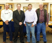 Pictured (L to R): Commissioner Jim Latta, K.C. Lehr, Commissioners Andy Nelson and Joel Bousman. Photo by Dawn Ballou, Pinedale Online!
