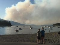 View of Berry Fire from Leeks Marina in Grand Teton National Park.  NPS courtesy photo.