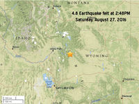 A 4.8 earthquake was felt Saturday, August 27, 2016 in Sublette County and western Wyoming. People reported feeling it in Kendall Valley, Hoback Ranches and Daniel and as far away as Lander and Thermopolis.